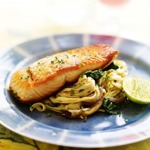Seared Salmon with Spinach and Soy Stir-Fried Noodles