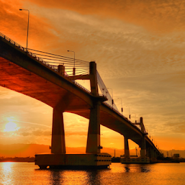 Sunset at Marcelo Fernan Bridge by Ferdinand Ludo - Buildings & Architecture Bridges & Suspended Structures ( lee yellow filter, cebu city, helps bring out the sunset, marcelo fernan bridge )