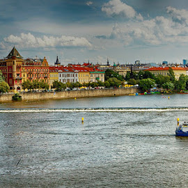 Prague on Vltava by Radu Eftimie - City,  Street & Park  Vistas ( houses, vltava river, czech republic, boat, prague )