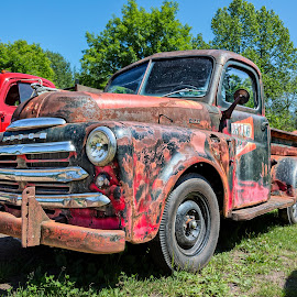 Yooper Bumper to Bumper by John Williams - Transportation Automobiles ( upper peninsula, michigan, old trucks, classic auto, dodge, rust, ford, yooper, rustic )