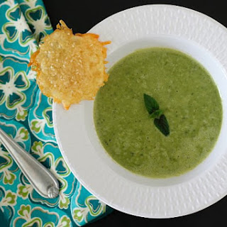 Minty Pea Soup with Sesame Parmesan Crisps