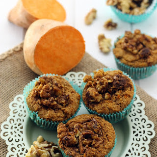 Sweet Potato Muffins with Walnut Streusel {gluten-free & vegan)