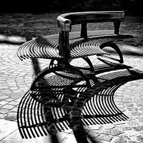 Alone in a Shadow by Renata Apanaviciene - Artistic Objects Other Objects ( b&w, bench, black and white, shadow, pwcbenches-dq, city, portrait, people, photography, public, furniture, object )
