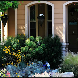 Welcome by Leslie Hunziker - Buildings & Architecture Homes ( plants, architecture, house, flowers, welcome, porch, spring )