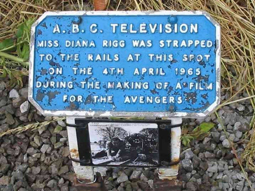 A.B.C TELEVISION MISS DIANA RIGG WAS STRAPPED TO THE RAILS AT THIS SPOT ON THE 4TH APRIL 1965 DURING THE MAKING OF A FILM FOR THE AVENGERS  Submitted by @rabihalameddine via @jqmcd