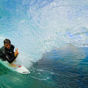 Barreled in blue by Trevor Murphy - Sports & Fitness Surfing ( water, girls, surfing, costa rica, sports, barrel )