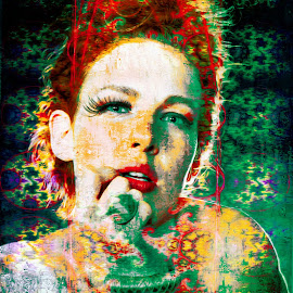 retro by Kathleen Devai - Digital Art People ( colour, vintage, woman, portrait )