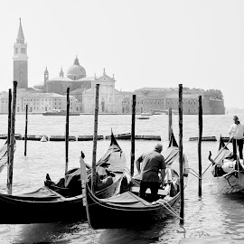Gondoliers by Heather Allen - Transportation Boats ( gondola, b&w, gondolier, venice, italy,  )