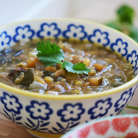 Garlicky Lentil Soup with Swiss Chard and Lemon; dressed up Rushta