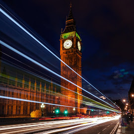 Big Ben at night by Catarina Nordeste - Buildings & Architecture Public & Historical ( lights, blue hour, long exposure, night, architecture, motion, city at night, street at night, park at night, nightlife, night life, nighttime in the city )