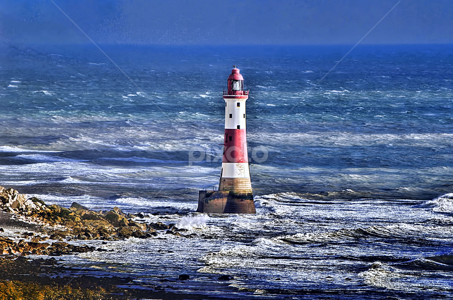 Beachyhead Lighthouse by Becky Wheller - Buildings & Architecture Other Exteriors ( sky, lighthouse, sea, beach, landscape )
