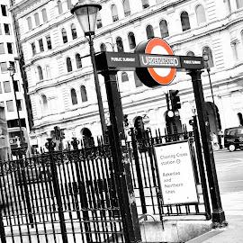 Underground by Karl Collins - Digital Art Places ( red, london, transport, black and white, underground, trains )
