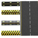 Road with four type of spike stripes