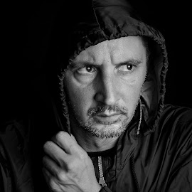 No sanctuary. by Bogdan Rusu - People Portraits of Men ( low key, black and white, moody, hood, man )