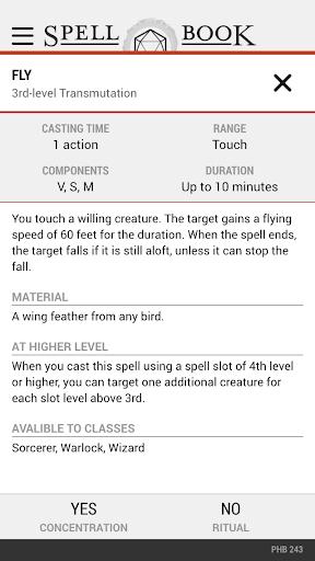5E Spell Book - screenshot