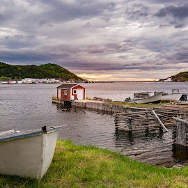 La Scie Harbour by Tracy Munson - Landscapes Travel ( clouds, canada, newfoundland, 2015, toronto, harbour, sea, ocean, boat, la scie, atlantic, fishing village, boat house, dock, photography, east coast, tracy munson, sunset, summer, pier, fishing, maritime, evening, nl, gta )