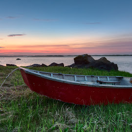 High and Dry by Steve Morrison - Transportation Boats ( orleans, row boat, grass, nauset harbor, sunrise, cape cod )