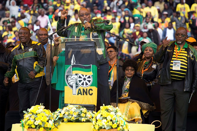 President Jacob Zuma addresses  supporters at a rally to commemorate the 105th birthday of the ANC, in Soweto on Sunday. Picture: REUTERS/JAMES OATWAY