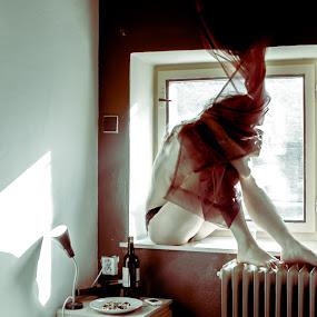 Lonely morning _01 by Gunleik Groovie - Nudes & Boudoir Artistic Nude ( girl, nude, window, hotel, curtain )