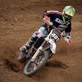 Black Shifter by Marco Bertamé - Sports & Fitness Motorsports ( curve, slittering, speed, number, yellow, race, 461, noise, red, motocross, dust, clumps, accelerating, shift, black )