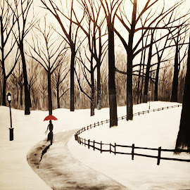Strolling by Jessica Chapman - Painting All Painting ( walking, park, solo, silhouette, snow, trees, painting )