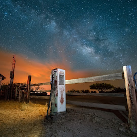 A Clear Night on Route 66 by Ed Mullins - Landscapes Starscapes ( milkyway, arizona, route 66, starscape, milky way )