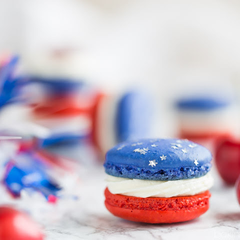 Red, White, & Blue Cherry Cheesecake Macarons