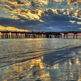 Golden by Harry James - Buildings & Architecture Bridges & Suspended Structures ( saintsimonsisland, sunset, goldenisles, coastalgeorgia, beach )