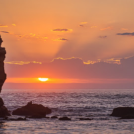 Rocky Sunset by Keith Walmsley - Landscapes Sunsets & Sunrises ( clouds, waves, sunset, australia, victoria, landscape, rocks, rays, coast )
