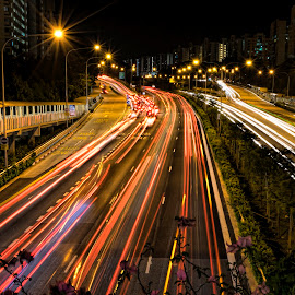 Busy returning home! by Gordon Koh - City,  Street & Park  Street Scenes ( rush hour, street, cityscape, road, nightscape )