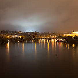 Bridge Reflection by Mathijs Vos - City,  Street & Park  Night ( reflection, vltava, night, light, prague, city )
