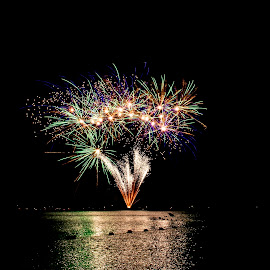 Fireworks over Lake George by Debbie Quick - Public Holidays July 4th ( debbie quick, adirondacks, outdoor photography, night, 4th of july, fireworks, holiday, best fourth in the north, new york, water, debs creative images, outdoor magazine, outdoors, public holiday, july 4th, hague, fourth of july, lake, lake george, night photography )