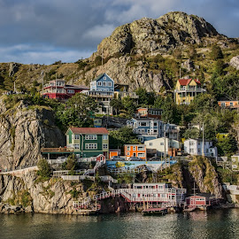 Clinging to the Rock by Gerda Grice - Landscapes Travel ( atlantic ocean, newfoundland, canada, buildings, reflections, st. john's, travel, cliff face )