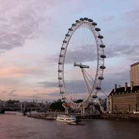 London Eye at Sunset by Brianne Cronenwett - City,  Street & Park  Skylines ( clouds, london eye, london, sunset, eye, river )