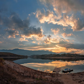 The forty springs dam by Petar Shipchanov - Landscapes Waterscapes ( clouds, water, reflection, mountain, sky, sunset, dam, reflections, springs, lake, boat, bulgaria )