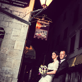 Bride & Groom by Boštjan Vučak - Wedding Bride & Groom ( wedding, art, croatia, night, light, trogira )