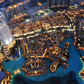 Dubai at night by Mica Parada Larrosa - City,  Street & Park  Vistas ( lights, dubai, night, town, dusk, city )
