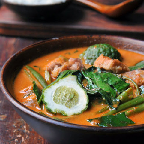 Red Curry with Pork Belly and Water Spinach | Gang Tay Po | แกงเทโพ