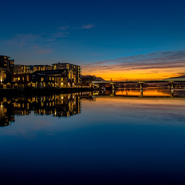 Sunset by Geir Blom - City,  Street & Park  Skylines ( water, night photography, sunset, river, city )