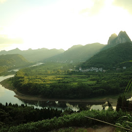 FISHING VILLAGE by Zac Rushbrook - Landscapes Mountains & Hills ( yangshuo, green, sunset, river, xingping )