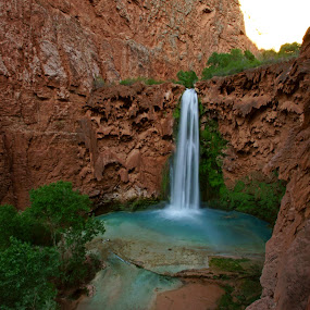 Mooney Falls by Justin Giffin - Landscapes Waterscapes ( desert, waterfalls, havasupai, arizona, blue water, landscapes,  )