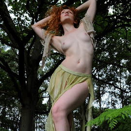 Queen of the Ferns by DJ Cockburn - Nudes & Boudoir Artistic Nude ( skirt, natural light, nude, topless, nature, woman, forest, redhead, ivory flame, standing, portrait )