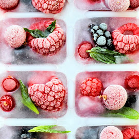 Frozen fruit 2 by Heather Aplin - Food & Drink Fruits & Vegetables ( cool, blackberry, fruit, cold, fresh, raspberry, ice, mint, summer, cube, frozen )