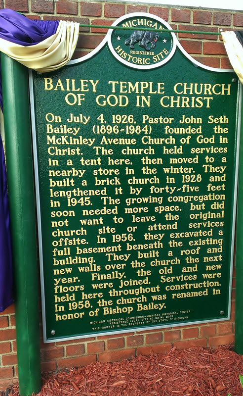 On July 4, 1926, Pastor John Seth Bailey (1896-1984) founded the McKinley Avenue Church of God in Christ. The church held services in a tent here, then moved to a nearby store in the winter. They ...
