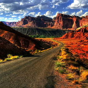 Road to Canyonlands by Marco Caciolli - Landscapes Travel ( red, canyonlands, utah, street, south west america, travel, road, landscapes, rocks )