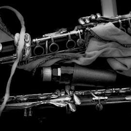 The Clarinets by Plamen Mirchev - Black & White Objects & Still Life ( music, musical instrument, musical instruments, dark, black and white, clarinet )