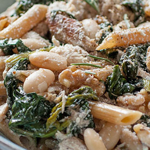Lemony Rosemary Chicken Pasta with Greens & Beans