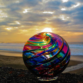 Almost Sunset by Vonelle Swanson - Artistic Objects Glass ( water, glass float, or, sunset, pacific ocean, artistic object, landscape, circle, pwc79 )