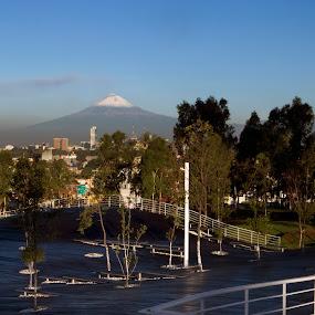 Puebla City by Cristobal Garciaferro Rubio - City,  Street & Park  Vistas ( volcano, mexico, puebla, popocatepetl, los fuertes park, los fuertes )