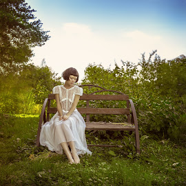 Ten seconds of summer by Dmitry Laudin - People Fashion ( girl, bench, grass, dress, summer, garden )